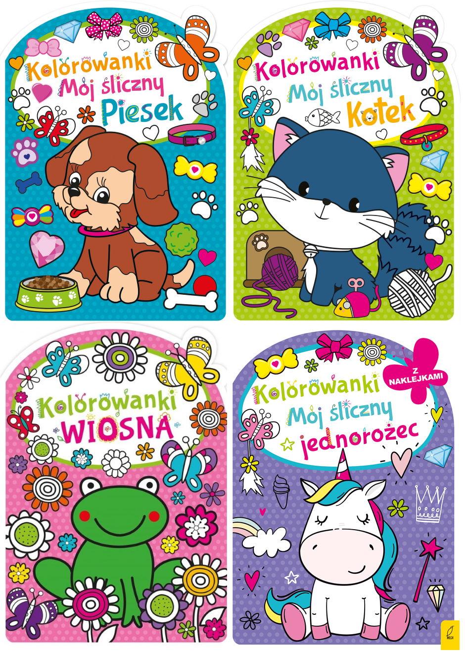 Pakiet 4 Kolorowanek Wiosna Piesek Kotek Jednorozec Z Naklejkami Zdrowepodejscie Pl